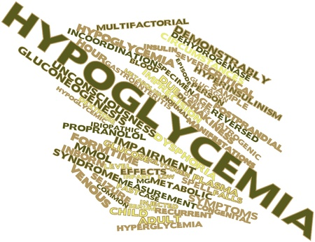 gastroenteritis: Abstract word cloud for Hypoglycemia with related tags and terms Stock Photo