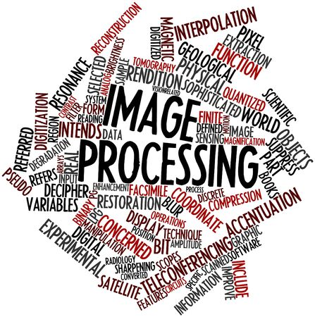 decipher: Abstract word cloud for Image processing with related tags and terms