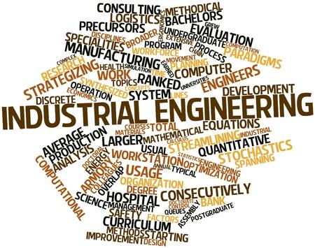 ingenieria industrial: Nube palabra abstracta para la ingenier�a industrial con etiquetas y t�rminos relacionados