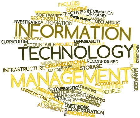 Abstract word cloud for Information technology management with related tags and terms Stock Photo - 16049394