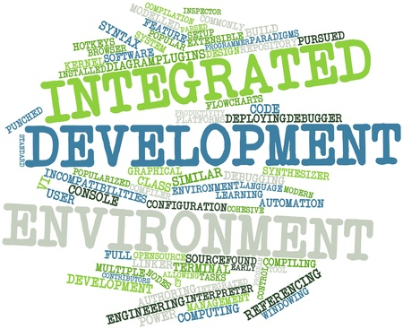 Abstract word cloud for Integrated development environment with related tags and terms Stock Photo - 16048726