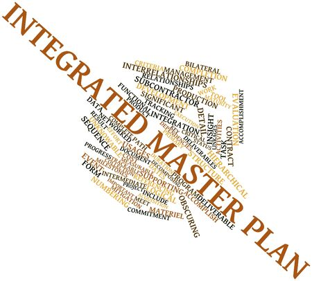 Abstract word cloud for Integrated master plan with related tags and terms Stock Photo - 16048247