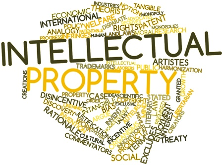 intangible: Abstract word cloud for Intellectual property with related tags and terms