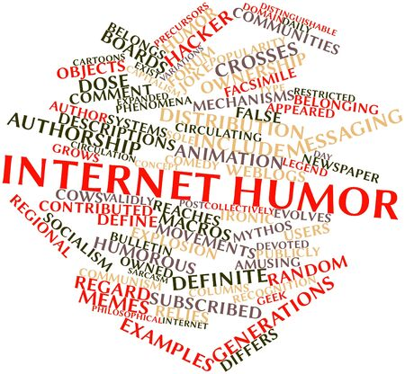 reaches: Abstract word cloud for Internet humor with related tags and terms