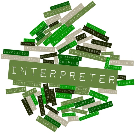interpret: Abstract word cloud for Interpreter with related tags and terms Stock Photo