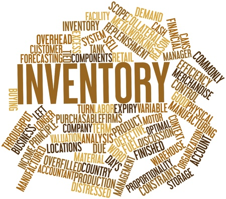 Abstract word cloud for Inventory with related tags and terms Stock Photo