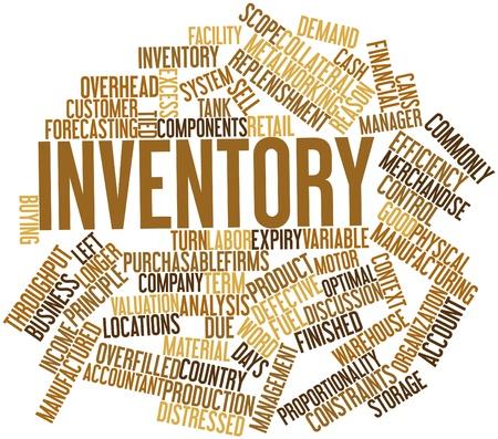 inventario: Nube palabra abstracta para el inventario con las etiquetas y términos relacionados Foto de archivo