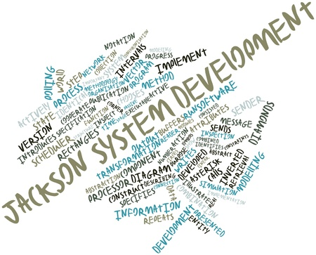 time specification: Abstract word cloud for Jackson system development with related tags and terms Stock Photo