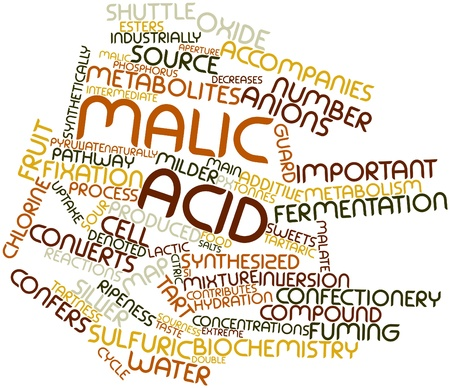 denoted: Abstract word cloud for Malic acid with related tags and terms