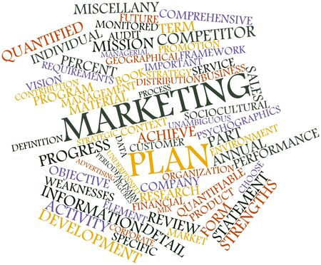 publicidad exterior: Nube palabra abstracta para el plan de marketing con las etiquetas y términos relacionados