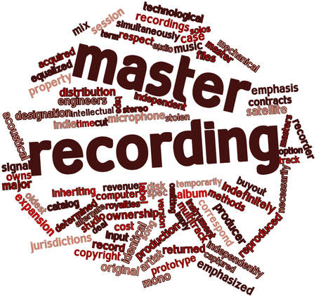 reproduced: Abstract word cloud for Master recording with related tags and terms Stock Photo