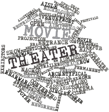 admitted: Abstract word cloud for Movie theater with related tags and terms