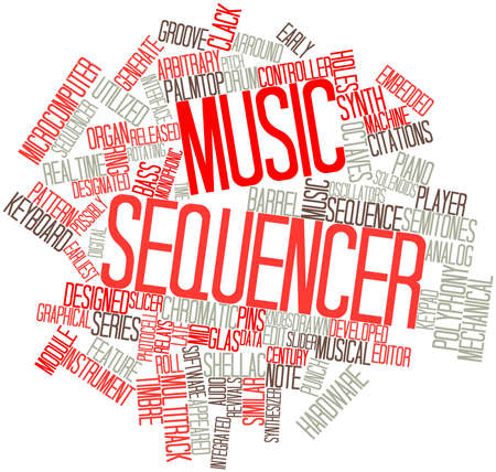 monophonic: Abstract word cloud for Music sequencer with related tags and terms