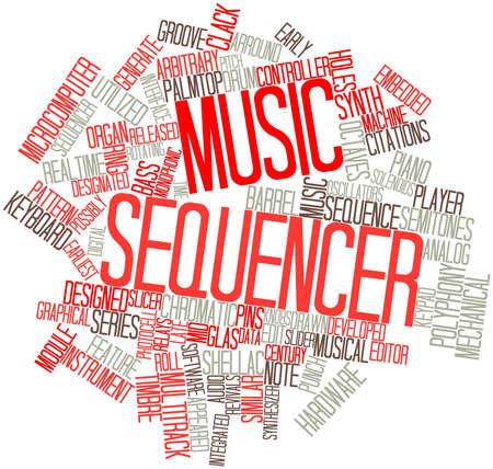 arbitrario: Nube palabra abstracta para secuenciador de música con etiquetas y términos relacionados