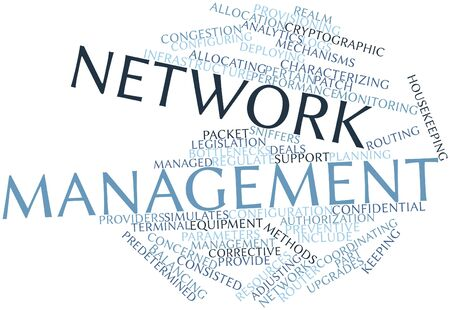 ideally: Abstract word cloud for Network management with related tags and terms Stock Photo