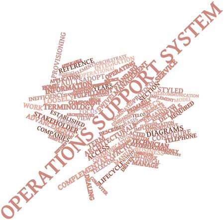 facto: Abstract word cloud for Operations support system with related tags and terms Stock Photo