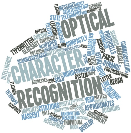 nascent: Abstract word cloud for Optical character recognition with related tags and terms Stock Photo