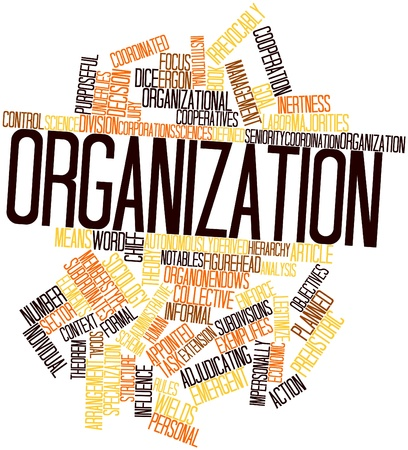 Abstract word cloud for Organization with related tags and terms photo
