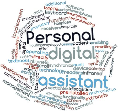 personal digital assistant: Abstract word cloud for Personal digital assistant with related tags and terms