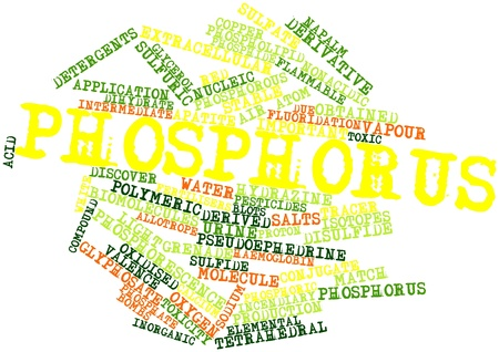 obtained: Abstract word cloud for Phosphorus with related tags and terms Stock Photo