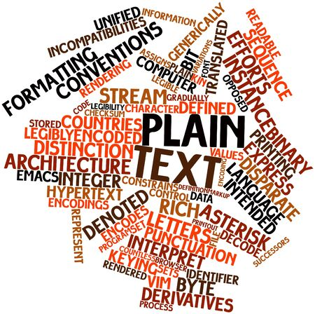 Abstract word cloud for Plain text with related tags and terms Stock Photo - 16049589