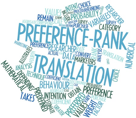 correspond: Abstract word cloud for Preference-rank translation with related tags and terms