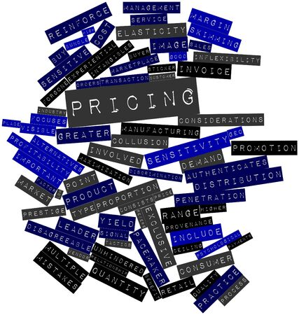 unhindered: Abstract word cloud for Pricing with related tags and terms Stock Photo