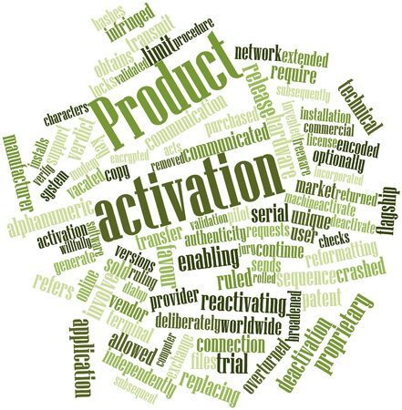 broadened: Abstract word cloud for Product activation with related tags and terms