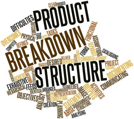 deliverables: Abstract word cloud for Product breakdown structure with related tags and terms