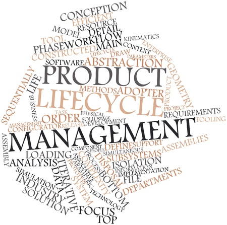 assemblies: Abstract word cloud for Product lifecycle management with related tags and terms Stock Photo