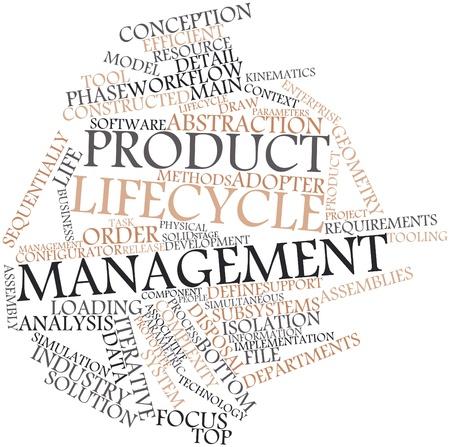 ciclo de vida: Nube palabra abstracta para la gestión del ciclo de vida del producto con las etiquetas y términos relacionados