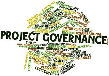 leadership key: Abstract word cloud for Project governance with related tags and terms Stock Photo