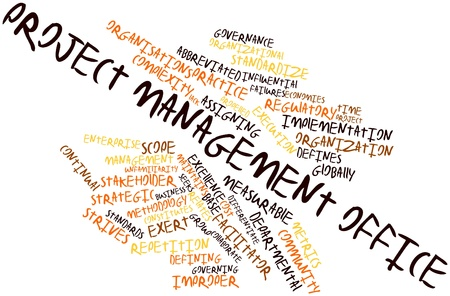 execution: Abstract word cloud for Project management office with related tags and terms