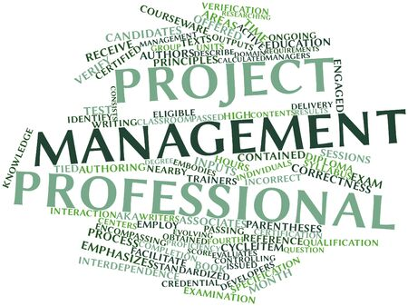 Abstract word cloud for Project Management Professional with related tags and terms
