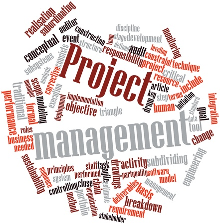 leveling: Abstract word cloud for Project management with related tags and terms Stock Photo