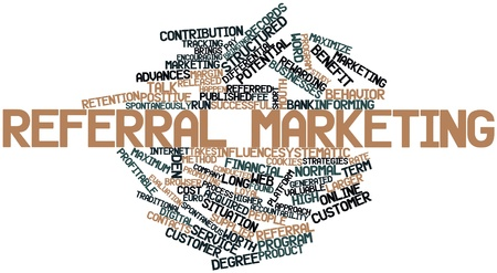 Abstract word cloud for Referral marketing with related tags and terms Stock Photo - 16048039