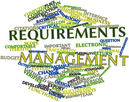 deliverable: Abstract word cloud for Requirements management with related tags and terms Stock Photo