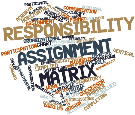 matrix: Abstract word cloud for Responsibility assignment matrix with related tags and terms