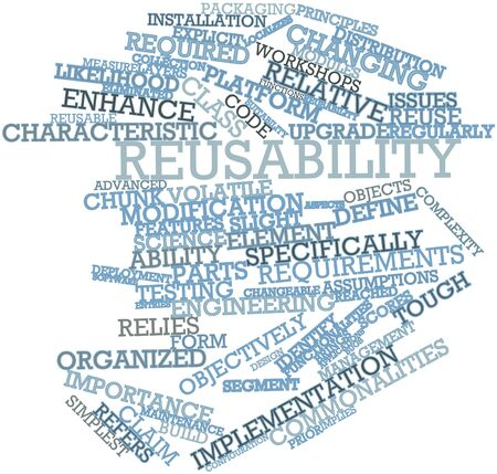implies: Abstract word cloud for Reusability with related tags and terms Stock Photo