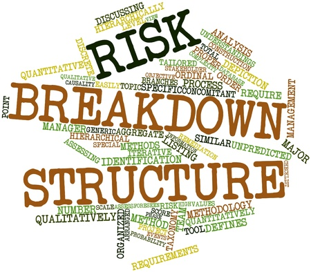 Abstract word cloud for Risk breakdown structure with related tags and terms Stock Photo - 16049341