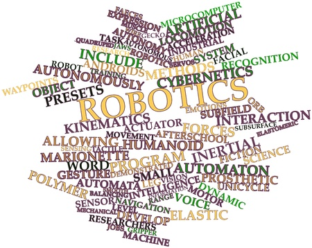 Abstract word cloud for Robotics with related tags and terms 스톡 콘텐츠
