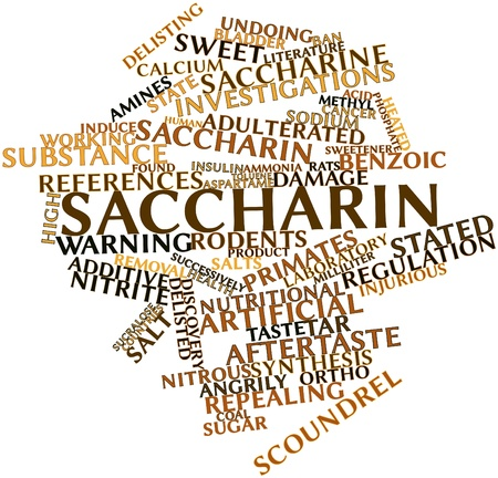 patents: Abstract word cloud for Saccharin with related tags and terms Stock Photo