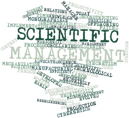 conscripts: Abstract word cloud for Scientific management with related tags and terms Stock Photo