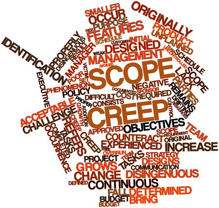 overrun: Abstract word cloud for Scope creep with related tags and terms Stock Photo