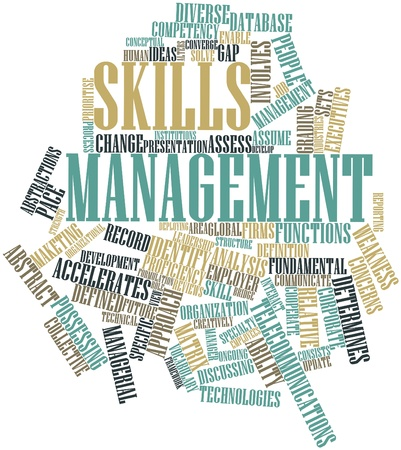 Abstract word cloud for Skills management with related tags and terms photo