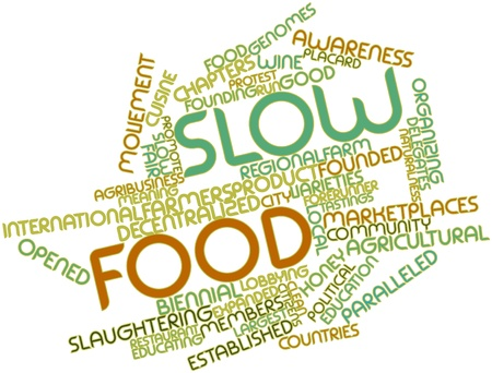 forerunner: Abstract word cloud for Slow Food with related tags and terms