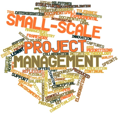 interrogating: Abstract word cloud for Small-scale project management with related tags and terms