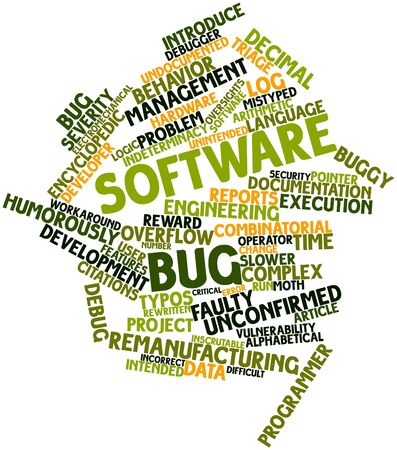 encyclopedic: Abstract word cloud for Software bug with related tags and terms Stock Photo