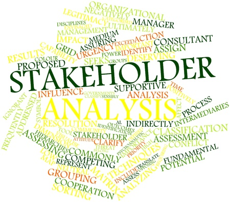 Abstract word cloud for Stakeholder analysis with related tags and terms