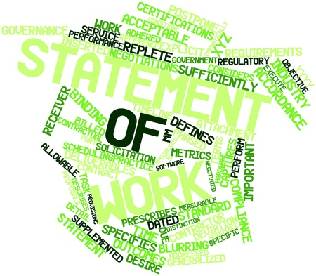 deliverables: Abstract word cloud for Statement of work with related tags and terms Stock Photo